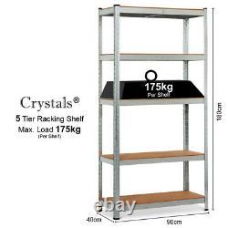 5 Tier Racking Shelf Heavy Duty Garage Shelving Storage Shelves Unit 180x90x40cm
