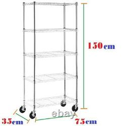 5-t Shelf Chrome Wire Shelving 150cm Racking Heavy Duty Storage with Wheels UKED