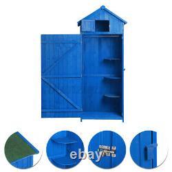 6FT GARDEN SHED STORAGE CUPBOARD WOODEN OUTDOOR TOOL CABINET SHELVES With DOOR UK