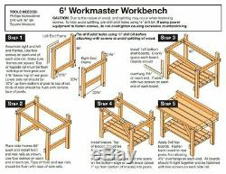 6' Heavy Duty Natural Wood Garage Workbench 2 Shelf Basement Storage Work Table