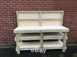 6ft Heavy Duty Industrial 18mm Plywood Workbench With 2 Shelves Backboard