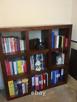 Acacia Wood Brown Book Shelf Storage Unit 9 Cubes