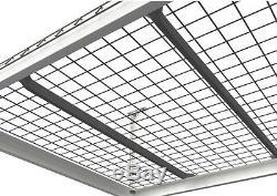 Adjustable Ceiling Overhead Storage Garage System Hanging Rack Shelves In White