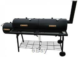 American Style BBQ Smoker With 2 Smoking Chambers, 2 Grills, 2 Shelves Heavy Duty