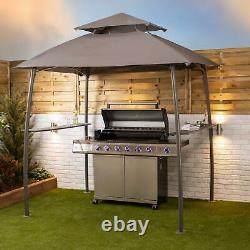 BBQ Grill Gazebo Tent Canopy Steel Frame with Side Shelves and Ventilation