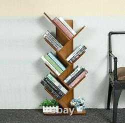 Bamboo Bookcase Tree Free Standing Book Storage Shelves Orgainzer Home Library