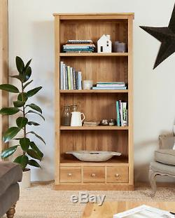 Baumhaus Mobel Oak Large Bookcase with 3 Drawers Solid Oak