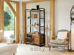 Baumhaus Urban Chic Large Bookcase with Storage & Sliding Doors- Reclaimed Wood