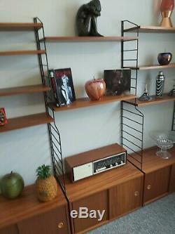 Beautiful Original 1960s BRIANCO Vintage Ladderax Teak String Metal Shelving