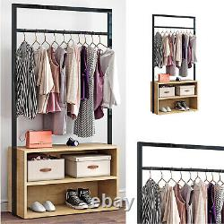 Bedroom Clothes Rial Double Open Wardrobe 2 Shelves Furniture Storage Shoe Rack