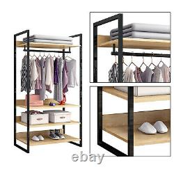 Bedroom Open Wardrobe 4 Shelf Furniture Storage Cupboard Heavy Duty Clothes Rail