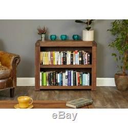 Bentley Walnut Furniture Wooden Low Wide 2 Shelf Bookcase Display Shelving Unit