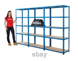BiGDUG 3x Bay Heavy Duty Steel Garage Shelving Kit, 179cm x 90 cm, 200kg