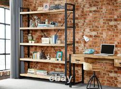 Bookcase 5 Shelf Display Solid Mango Wood Metal Frame Rustic Urban Industrial