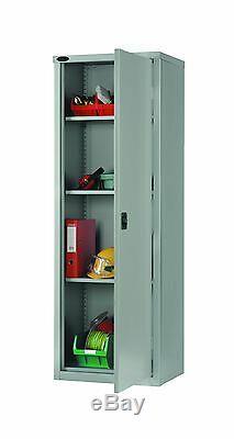 British Made Heavy Duty Lockable Slim Steel Storage Cupboard Cabinet & 3 Shelves