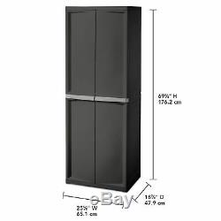 Cabinet Storage Organizer Adjustable 4 Shelf Heavy-Duty Construction Flat Gray