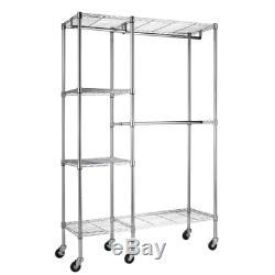 Closet Storage Garment Rack Include Wheels Steel Frame Chrome Durable Stylish