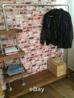 Contemporary Heavy Duty Steel Pipe Shelf, Open Wardrobe, Reclaimed Wood Storage