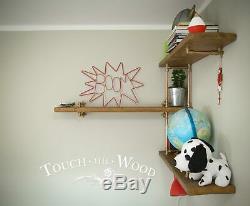 Copper Pipe & Brass CORNER Wall Shelf STEAMPUNK INDUSTRIAL Reclaimed Wood