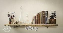 Copper Pipe Brass Single Shelf STEAMPUNK Reclaimed Wood INDUSTRIAL Wall Display