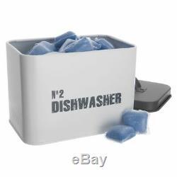 Dishwasher Storage Box Tablet Metal Laundry Washing Kitchen Container Powder Box