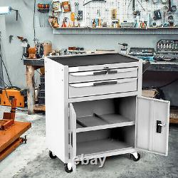 Double Drawer& Cabinet Heavy Duty Tool Cart Mobile Tool Shelf Workshop Cart
