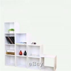 Elegant White Wooden Cube Shelving Rack Book Case CD DVD Display Shelf Organizer