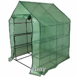 Faboer Walk in Garden Greenhouse with Shelves Polytunnel Steeple Removable Cover
