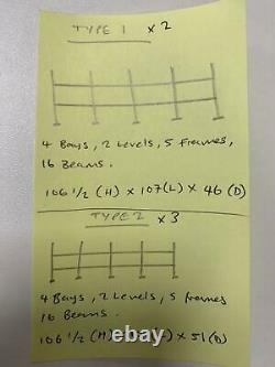 Five 4 Bay Heavy Duty Longspan Racking with 2 Levels 2.8m(L) x 2.7m(H)