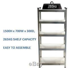 Galvanised 5 Teir Metal Steel Shelving Boltless Racking 265kg Heavy Duty Shelf