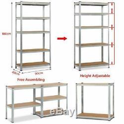 Galvanised 5 tier heavy duty metal shelving racking boltless storage in 2 sizes