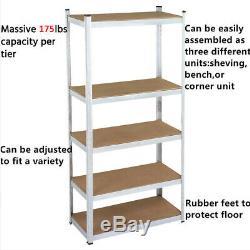 Garage Shelves Shelving 5 Tier Units Racking Boltless Heavy Duty Storage Shelf
