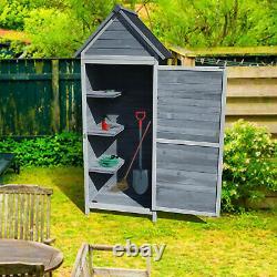 Garden Outdoor Wooden Tool Storage Shed With 3 Shelves and Door Storage Cupboard