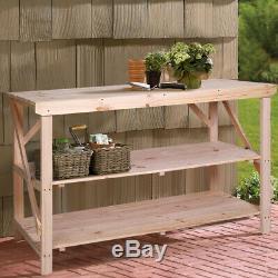 Garden Potting Bench Table Wood Greenhouse Flower Pot Strorage Workbench withShelf
