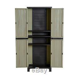 Garden Storage Cupboard Outdoor Utility Cabinet Waterproof Plastic Shelves Shed