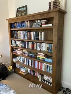 Gorgeous Solid Pine Indigo Bookshelf, Made In Uk, With Wax And Brush For Upkeep