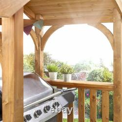 Grilling Wooden BBQ Shelter Pavilion 2 Side Shelves Garden Outdoor Patio Party