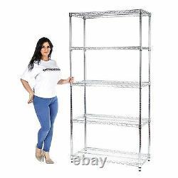 HEAVY DUTY Chrome Wire 5 Tier Shelving Unit Kitchen/Office/Retail 500KG per Unit