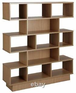 Habitat Cubes 5 Tier Wide Bookcase Oak Effect