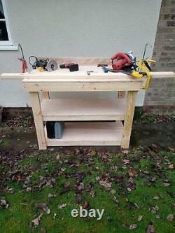 Heavy Duty 4ft wooden Workbench 18mm Hardwood Ply Construction Grade Timber