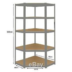 Heavy Duty GREY Corner Shelving 5 Tier Garage Storage Racking Shed Warehouse