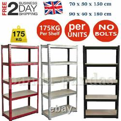 Heavy Duty Garage Racking Storage Shelving Units Boltless Metal Shelves 5Tier UK