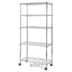 Heavy Duty Garage Steel Wire Chrome Rolling 5-Shelf Storage Shelving 36x18x72