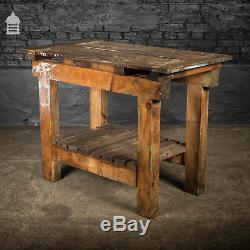 Heavy Duty Industrial Pine Workbench with Slatted shelf