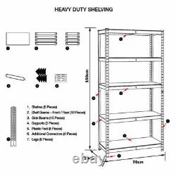 Heavy Duty Metal 5 Tier Boltless Shelving Racking 1500 x 700 x 300 mm Grey UKDC