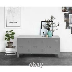 Heavy Duty Metal Cabinet 3 Door Cupboard Organizer Console Stand with 2 Shelves
