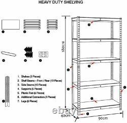 Heavy Duty Metal Shelving Racking Unit 5 Tier Garage shed office Storage Shelf