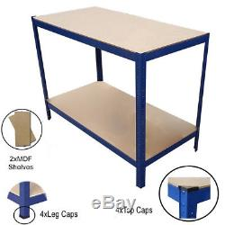 Heavy Duty Metal Shelving Racking Work Bench Blue Table for Workshop Garage Shed