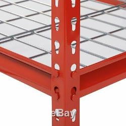 Heavy Duty Metal Storage 5 Shelves Shelf Rack Steel Shelving 48 x 18 72 Red