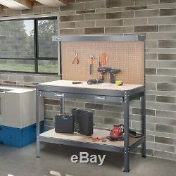 Heavy Duty Metal Work Bench Garage Unit Tool Storage Drawer Sturdy Steel Shelf